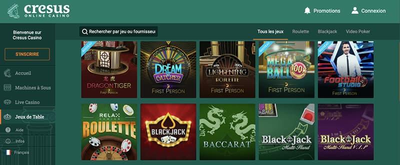 cresus casino capture d'ecran jeux