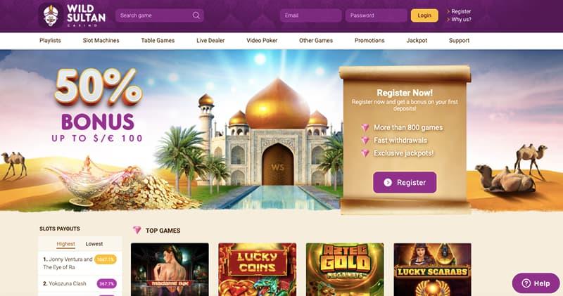wild sultan casino capture d'ecran interface